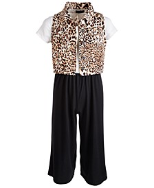Big Girls 2-Pc. Animal-Print Vest & Jumpsuit Set
