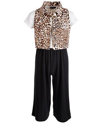 Big Girls 2 Pc. Animal Print Vest & Jumpsuit Set by General