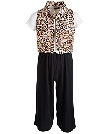 Sequin Hearts Big Girls 2-Pc. Animal-Print Vest & Jumpsuit Set