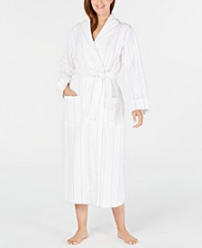 Turkish Cotton Luxe Terry Striped Long Robe, Created for Macy's