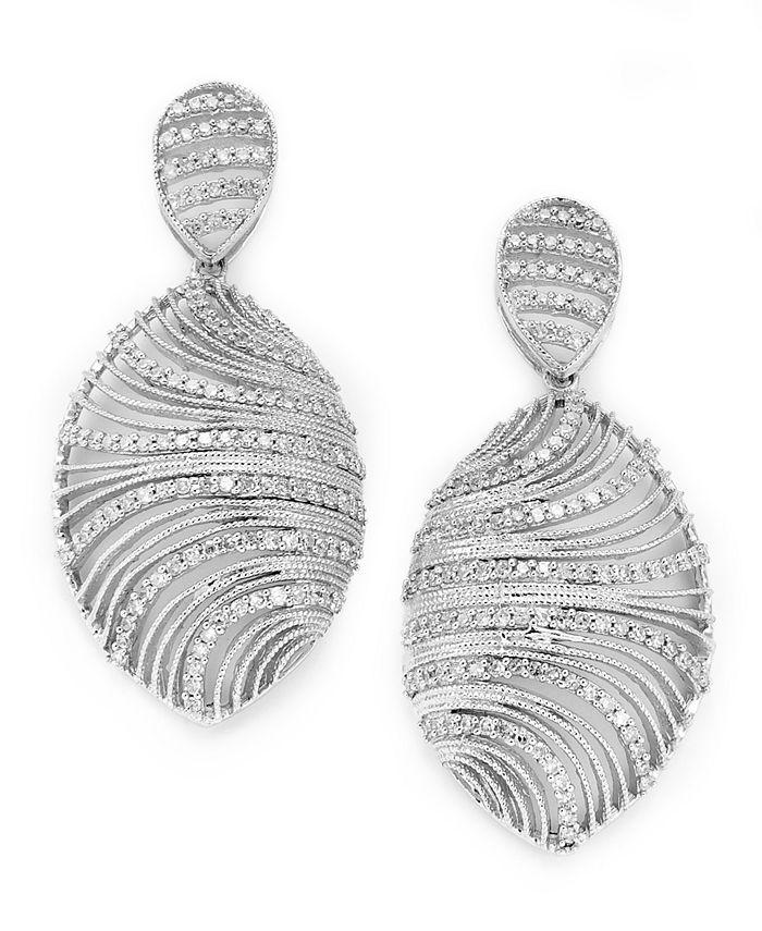 Macy's - Diamond Shell Earrings in Sterling Silver (1 ct. t.w.)