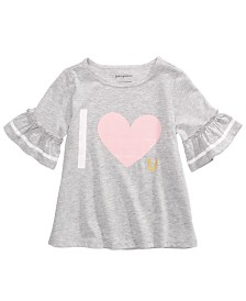 First Impressions Toddler Girls Love-Print Ruffle-Sleeve T-Shirt, Created for Macy's