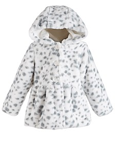 Baby Girls Hooded Animal-Print Fur Coat, Created for Macy's