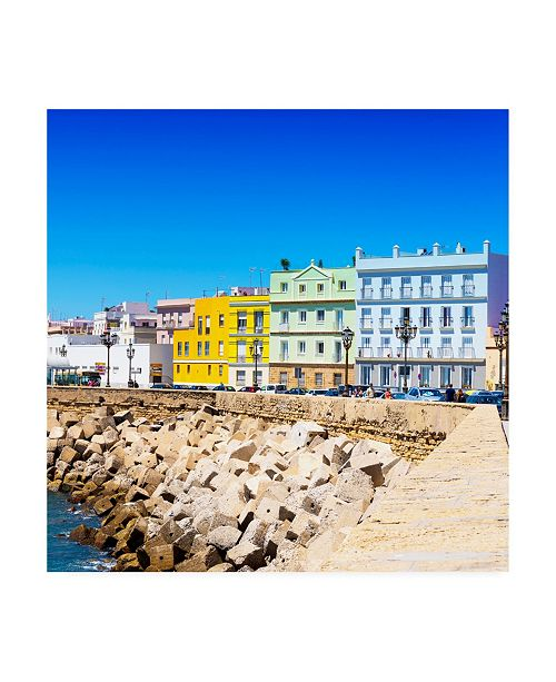 "Trademark Global Philippe Hugonnard Made in Spain 3 Colorful Buildings in Cadiz Canvas Art - 15.5"" x 21"""