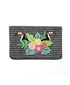 Weekend Beaded and Embroidered Tropical Bird Envelope Clutch