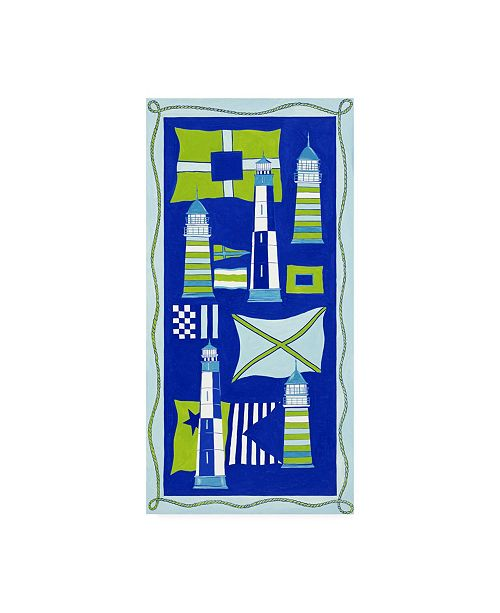 """Trademark Global Pablo Esteban Lighthouses and Flags in Blue Canvas Art - 19.5"""" x 26"""""""