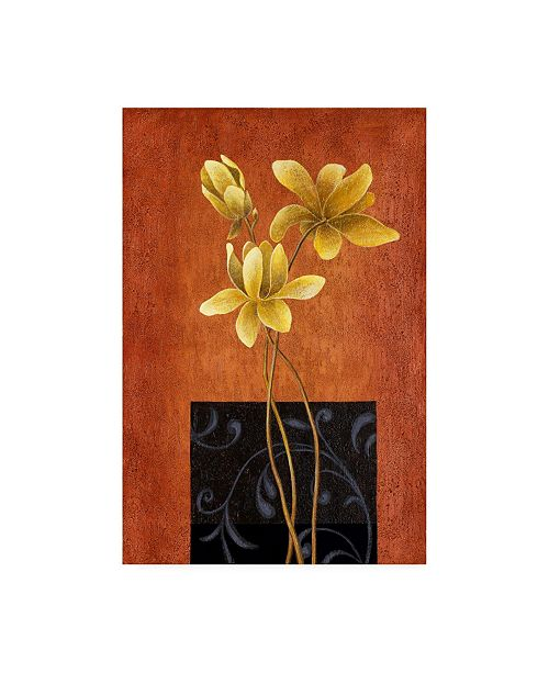 "Trademark Global Pablo Esteban Yellow Flowers and Black Square Canvas Art - 36.5"" x 48"""