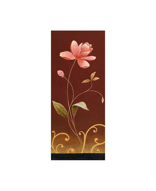 "Trademark Global Pablo Esteban Pink Flowers on Red Canvas Art - 15.5"" x 21"""