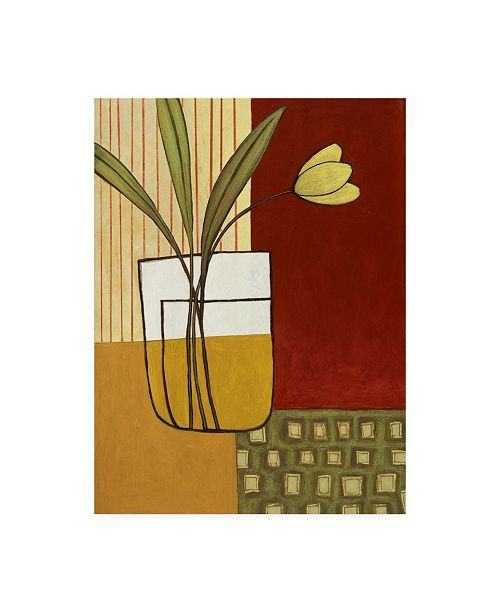 """Trademark Global Pablo Esteban Yellow Flower on Red and Sage Canvas Art - 27"""" x 33.5"""""""