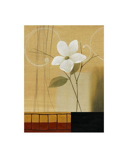 "Trademark Global Pablo Esteban Single White Flower on Beige Canvas Art - 36.5"" x 48"""