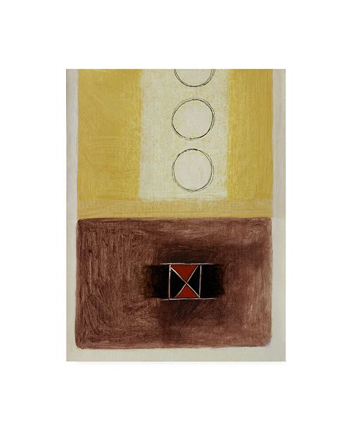 """Trademark Global Pablo Esteban Yellow and Brown with Circles Canvas Art - 36.5"""" x 48"""""""