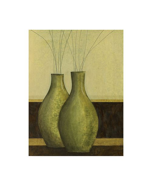 "Trademark Global Pablo Esteban Two Vases in Green Canvas Art - 27"" x 33.5"""