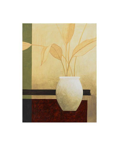 "Trademark Global Pablo Esteban White Vase with Small Leaves Canvas Art - 15.5"" x 21"""