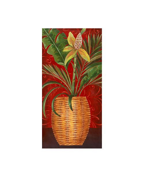 """Trademark Global Pablo Esteban Tropical Flower in Wicker Canvas Art - 19.5"""" x 26"""""""