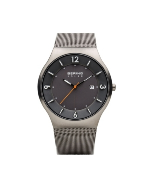 Men's Slim Solar Stainless Case and Mesh Watch