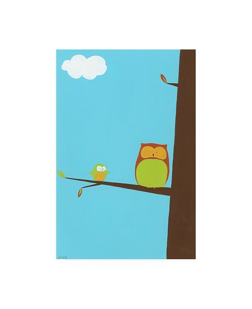 "Trademark Global June Erica Vess Tree top Owls II Childrens Art Canvas Art - 15.5"" x 21"""