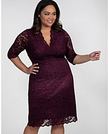Women's Plus Size Scalloped Boudoir Lace Dress