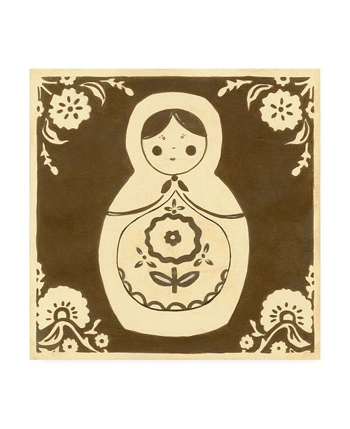 "Trademark Global June Erica Vess Russian Doll in Brown Canvas Art - 36.5"" x 48"""
