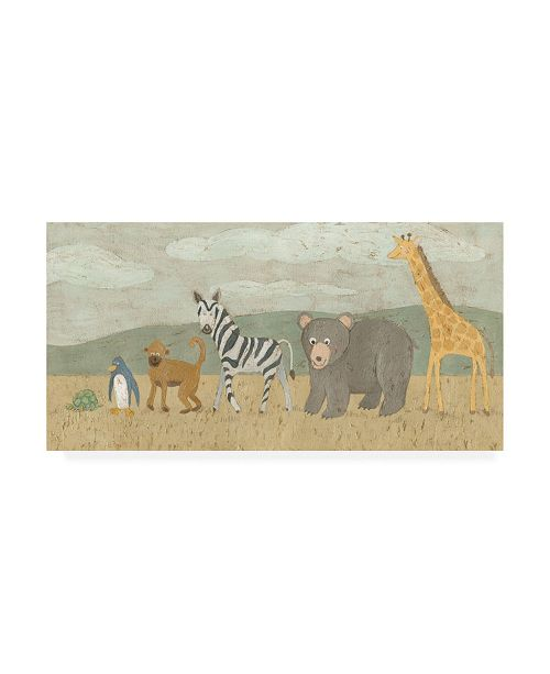 "Trademark Global Megan Meagher Animals All in a Row II Canvas Art - 36.5"" x 48"""