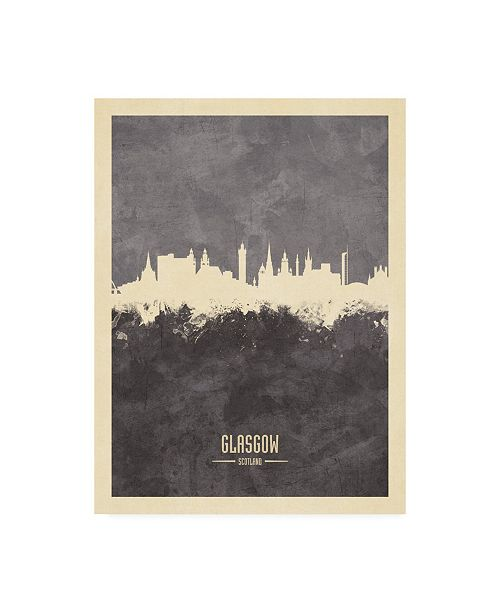 "Trademark Global Michael Tompsett Glasgow Scotland Skyline Gray Canvas Art - 19.5"" x 26"""