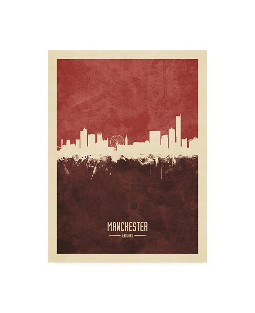 "Trademark Global Michael Tompsett Manchester England Skyline Reds Canvas Art - 36.5"" x 48"""