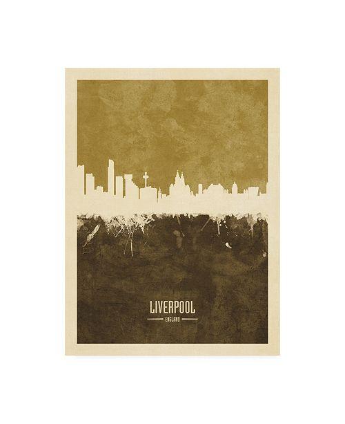 "Trademark Global Michael Tompsett Liverpool England Skyline Brown Canvas Art - 36.5"" x 48"""
