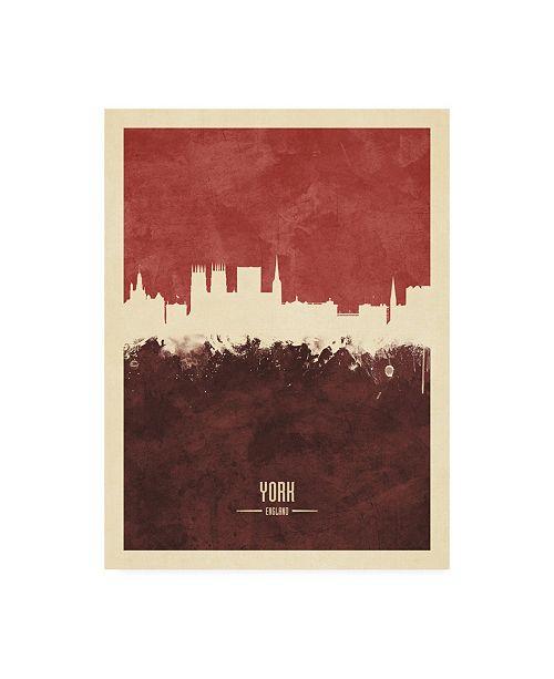 "Trademark Global Michael Tompsett York England Skyline Red II Canvas Art - 36.5"" x 48"""