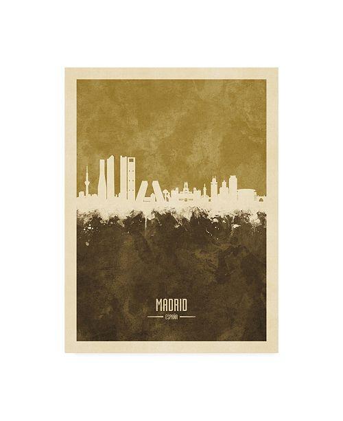 "Trademark Global Michael Tompsett Madrid Spain Skyline Brown Canvas Art - 36.5"" x 48"""