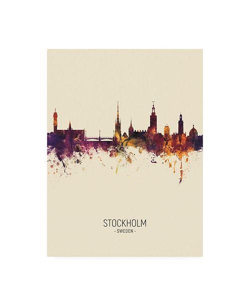 "Trademark Global Michael Tompsett Stockholm Sweden Skyline Portrait III Canvas Art - 27"" x 33.5"""