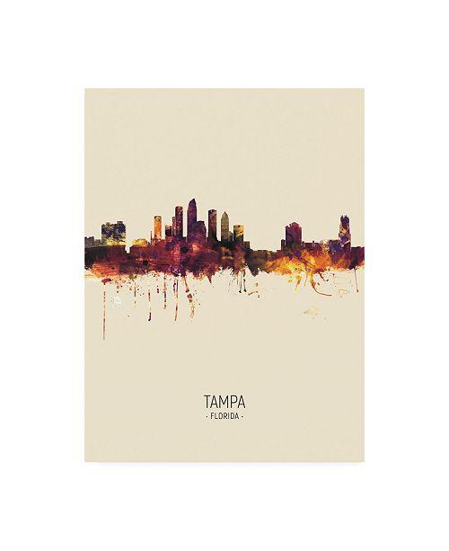 "Trademark Global Michael Tompsett Tampa Florida Skyline Portrait III Canvas Art - 15.5"" x 21"""