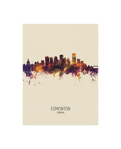 "Trademark Global Michael Tompsett Edmonton Canada Skyline Portrait III Canvas Art - 15.5"" x 21"""