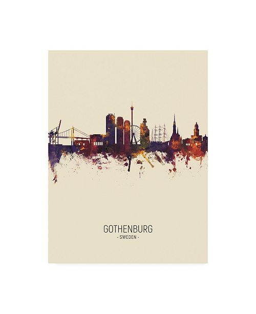 "Trademark Global Michael Tompsett Gothenburg Sweden Skyline Portrait III Canvas Art - 27"" x 33.5"""