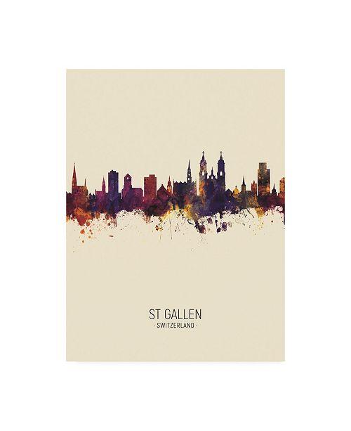 "Trademark Global Michael Tompsett St Gallen Switzerland Skyline Portrait III Canvas Art - 19.5"" x 26"""