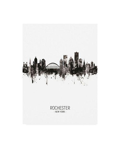 "Trademark Global Michael Tompsett Rochester New York Skyline Portrait II Canvas Art - 36.5"" x 48"""