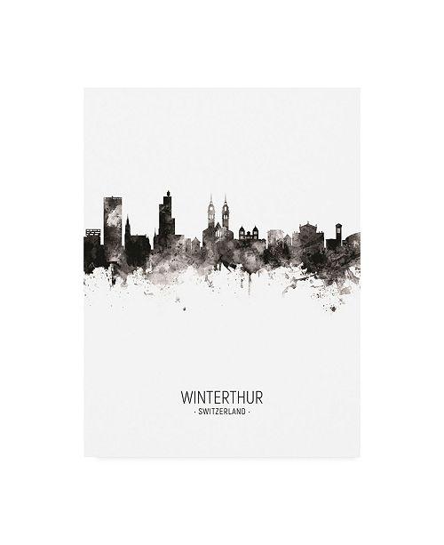 "Trademark Global Michael Tompsett Winterthur Switzerland Skyline Portrait II Canvas Art - 36.5"" x 48"""