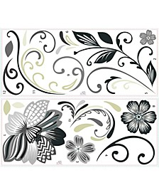 Flower Scroll Peel and Stick Giant Wall Decals