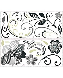 York Wallcoverings Flower Scroll Peel and Stick Giant Wall Decals
