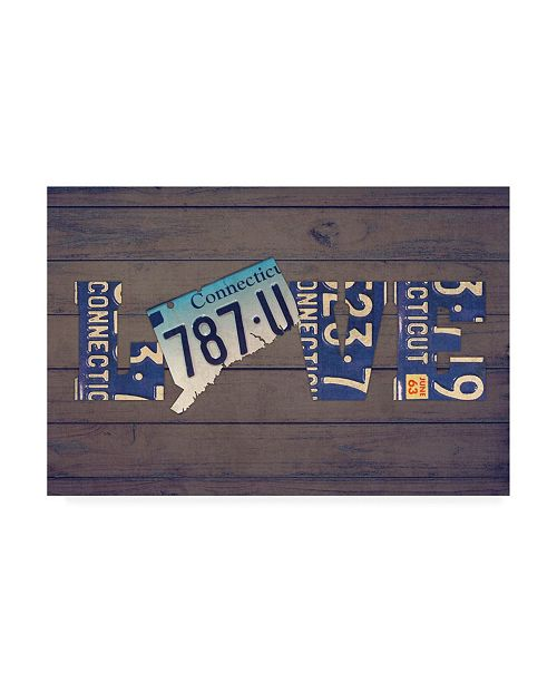 "Trademark Global Design Turnpike CT State Love Canvas Art - 19.5"" x 26"""