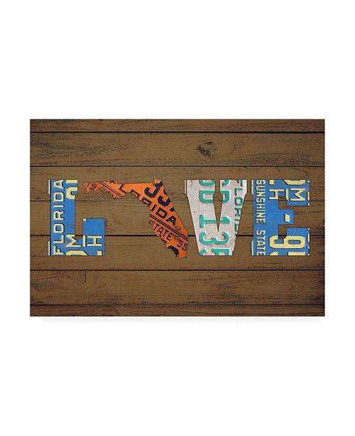 "Trademark Global Design Turnpike FL State Love Canvas Art - 27"" x 33.5"""