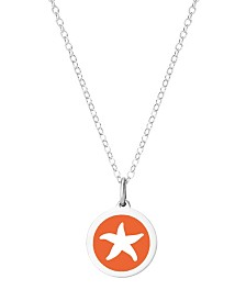 "Auburn Jewelry Mini Starfish Pendant Necklace in Sterling Silver and Enamel, 16"" + 2"" Extender"
