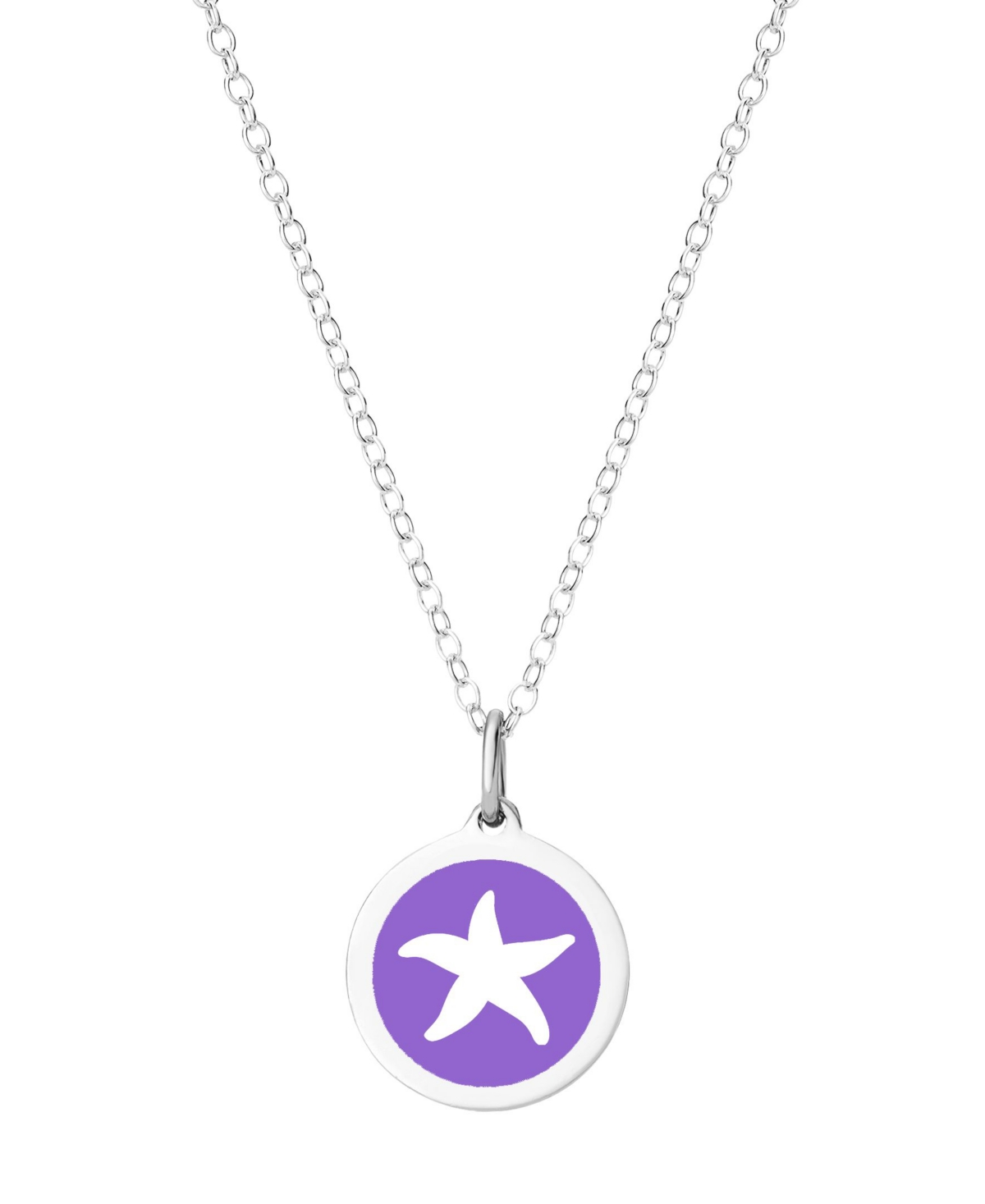 """Auburn Jewelry Mini Starfish Pendant Necklace in Sterling Silver and Enamel, 16"""" + 2"""" Extender"""