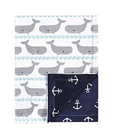 Reversible Mink Blanket, Whales