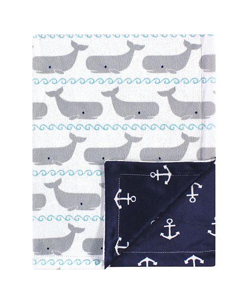 Hudson Baby Reversible Mink Blanket, Whales