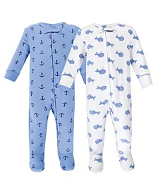 Hudson Baby Zipper Sleep N Play, Blue Whales, 2 Pack, 0-3 Months