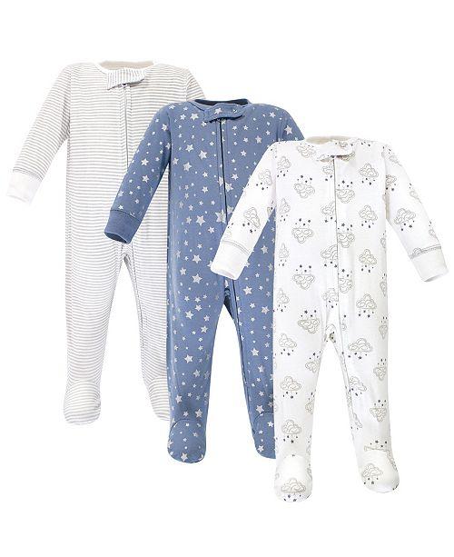 Hudson Baby Zipper Sleep N Play, Cloud Mobile Blue, 3 Pack, 3-6 Months