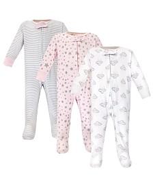 Hudson Baby Zipper Sleep N Play, Cloud Mobile Pink, 3 Pack, 0-3 Months