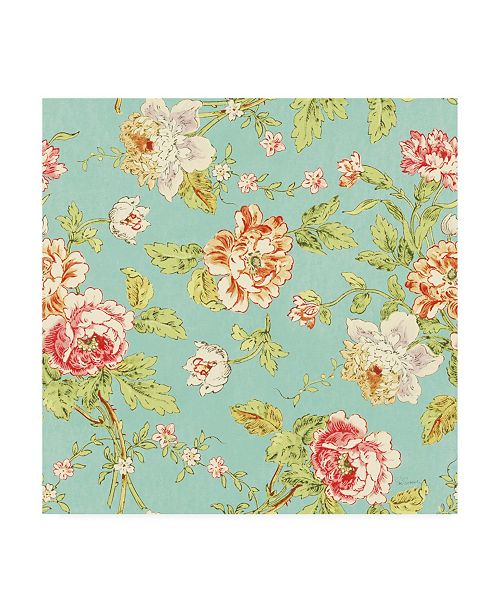 "Trademark Global Sue Schlabach Cottage Roses Pattern IIID Canvas Art - 36.5"" x 48"""