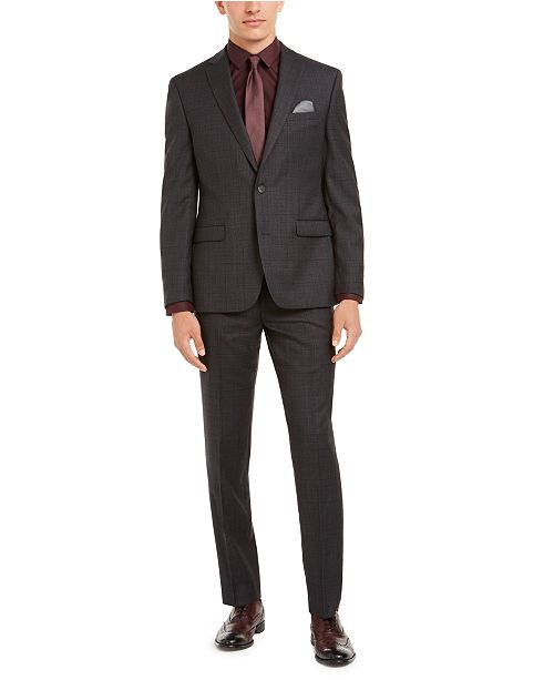 Bar III Men's Slim-Fit Gray Plaid Suit Separates, Created for Macy's