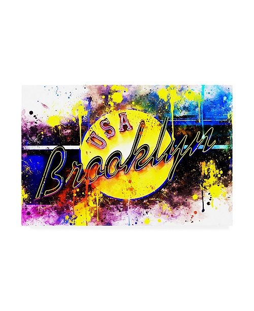 "Trademark Global Philippe Hugonnard NYC Watercolor Collection - Yellow Brooklyn Canvas Art - 36.5"" x 48"""