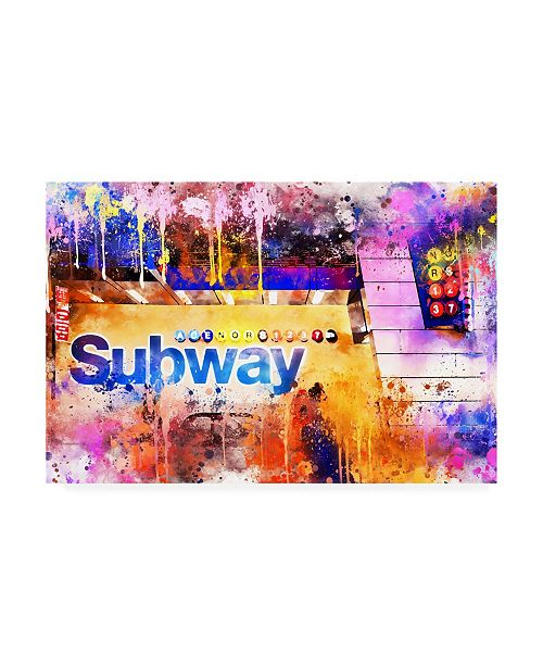 """Trademark Global Philippe Hugonnard NYC Watercolor Collection - Subway Station Canvas Art - 36.5"""" x 48"""""""